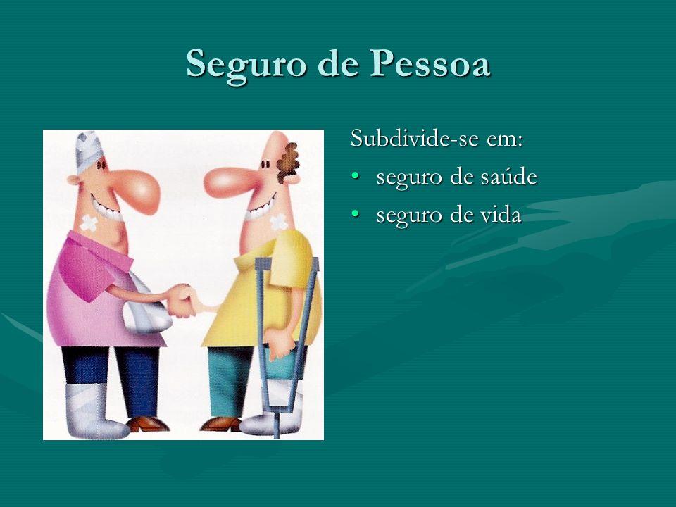 Seguro de Pessoa Subdivide-se em: seguro de saúde seguro de vida