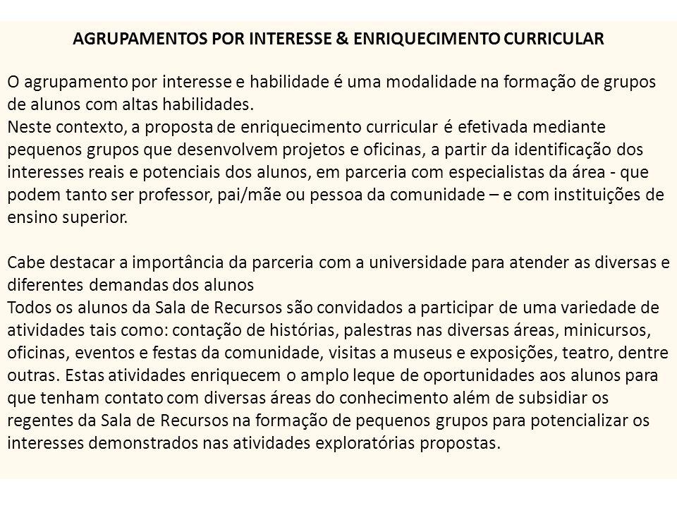 AGRUPAMENTOS POR INTERESSE & ENRIQUECIMENTO CURRICULAR