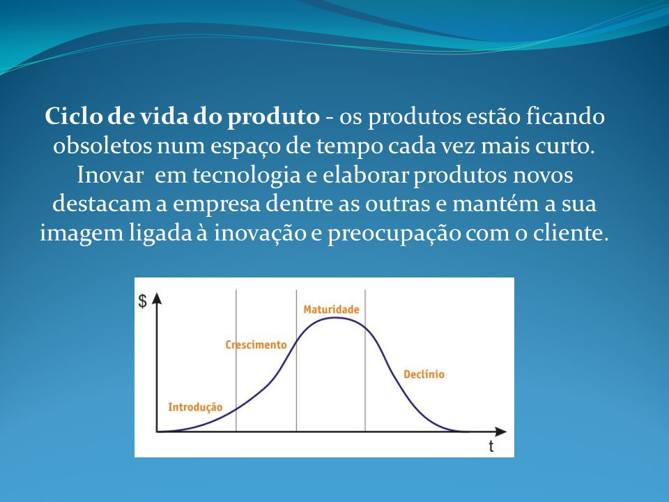 Ciclo de vida do produto - os produtos estão ficando obsoletos num espaço de tempo cada vez mais curto.