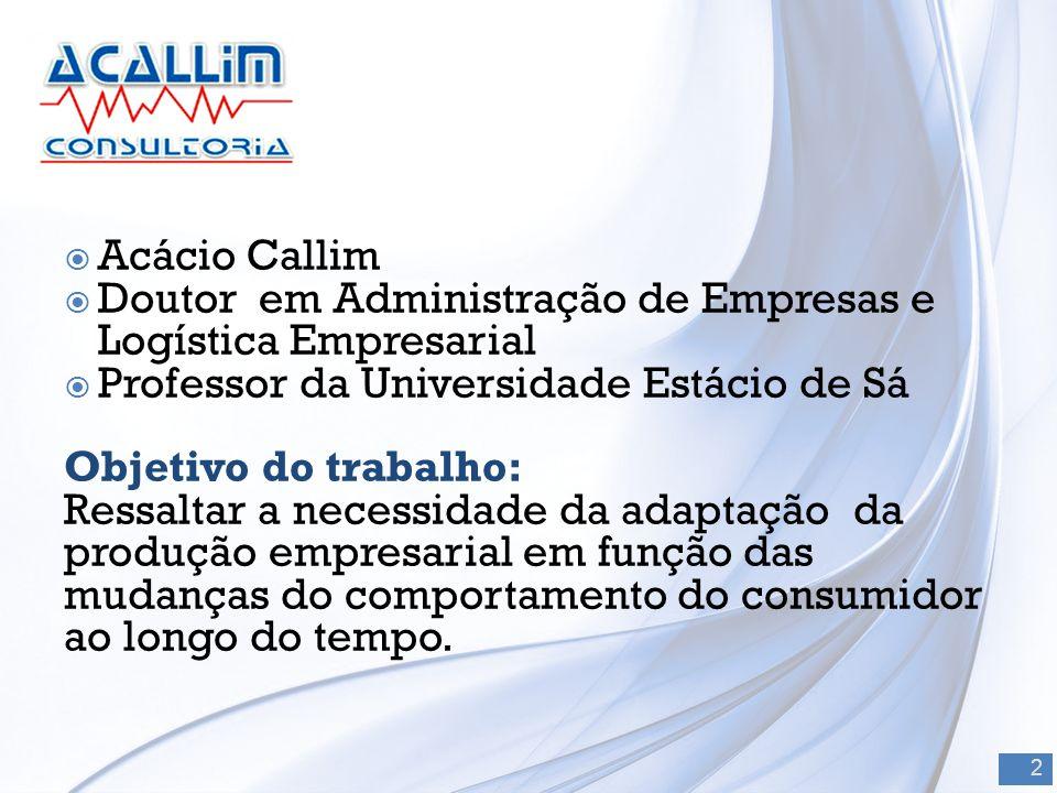 Acácio Callim Doutor em Administração de Empresas e Logística Empresarial. Professor da Universidade Estácio de Sá.