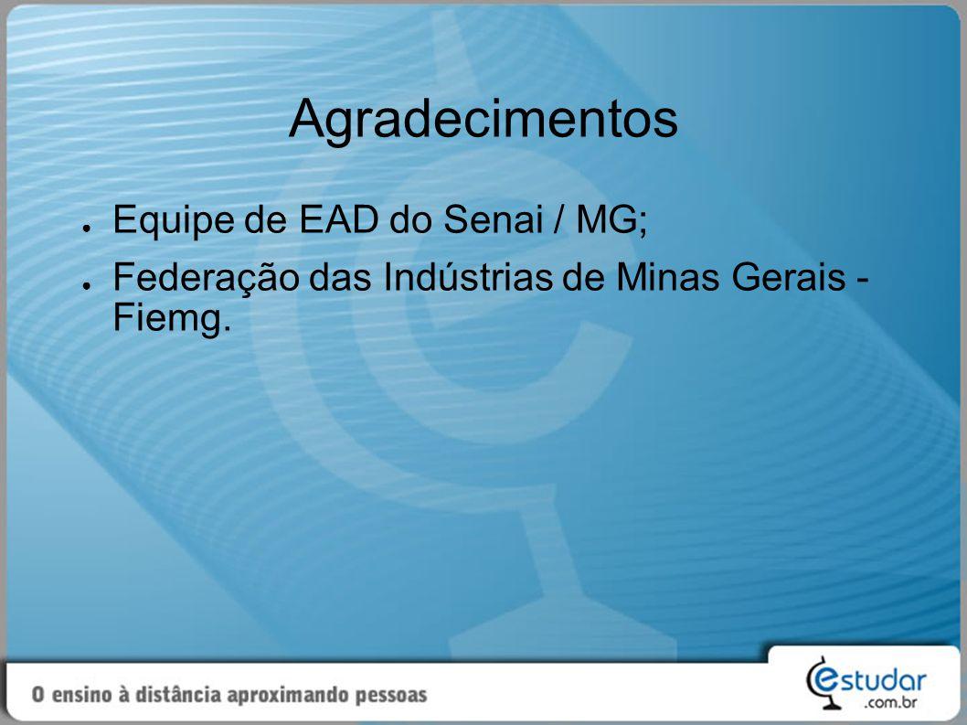 Agradecimentos Equipe de EAD do Senai / MG;