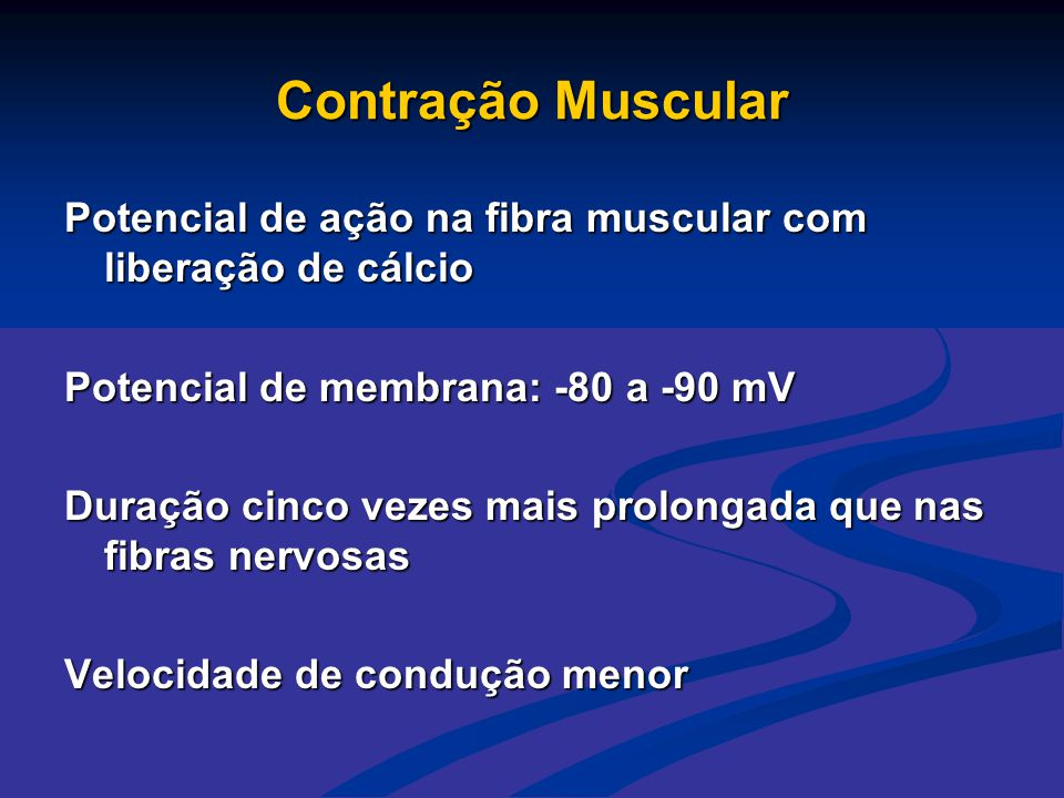 Contração Muscular Potencial de ação na fibra muscular com liberação de cálcio. Potencial de membrana: -80 a -90 mV.
