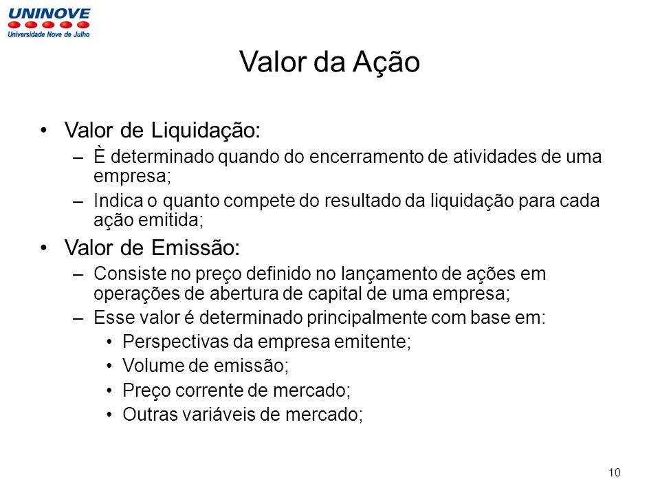 Valor da Ação Valor de Liquidação: Valor de Emissão: