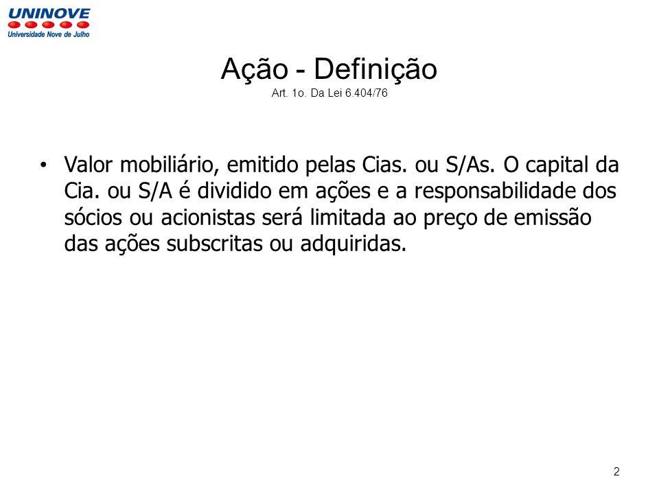 Ação - Definição Art. 1o. Da Lei 6.404/76