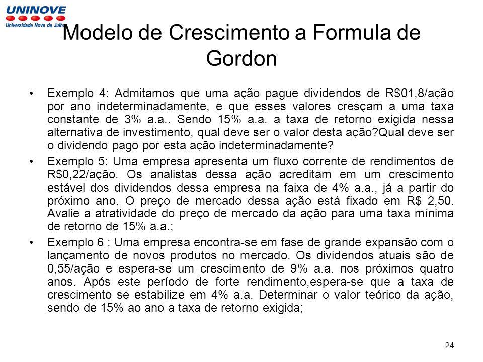 Modelo de Crescimento a Formula de Gordon