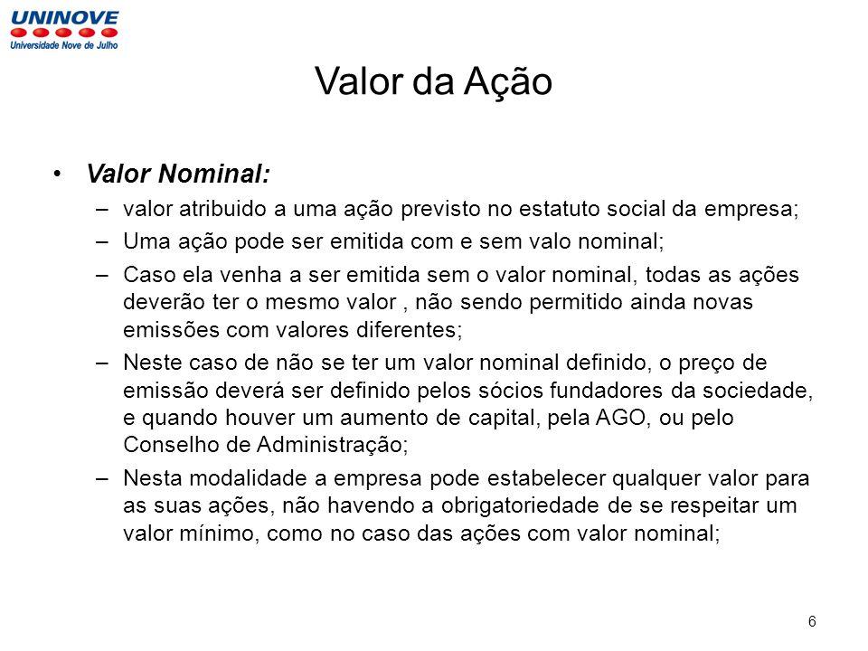 Valor da Ação Valor Nominal: