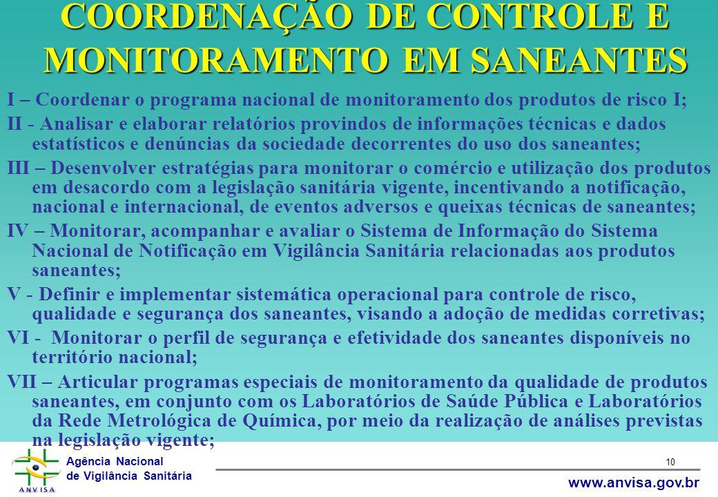 COORDENAÇÃO DE CONTROLE E MONITORAMENTO EM SANEANTES