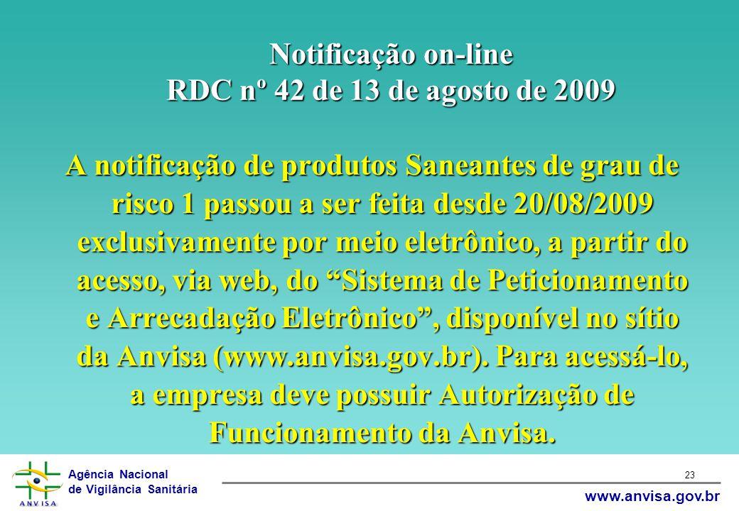 Notificação on-line RDC nº 42 de 13 de agosto de 2009