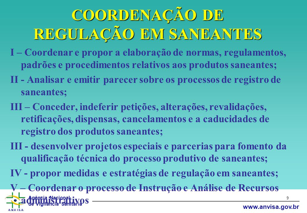 COORDENAÇÃO DE REGULAÇÃO EM SANEANTES