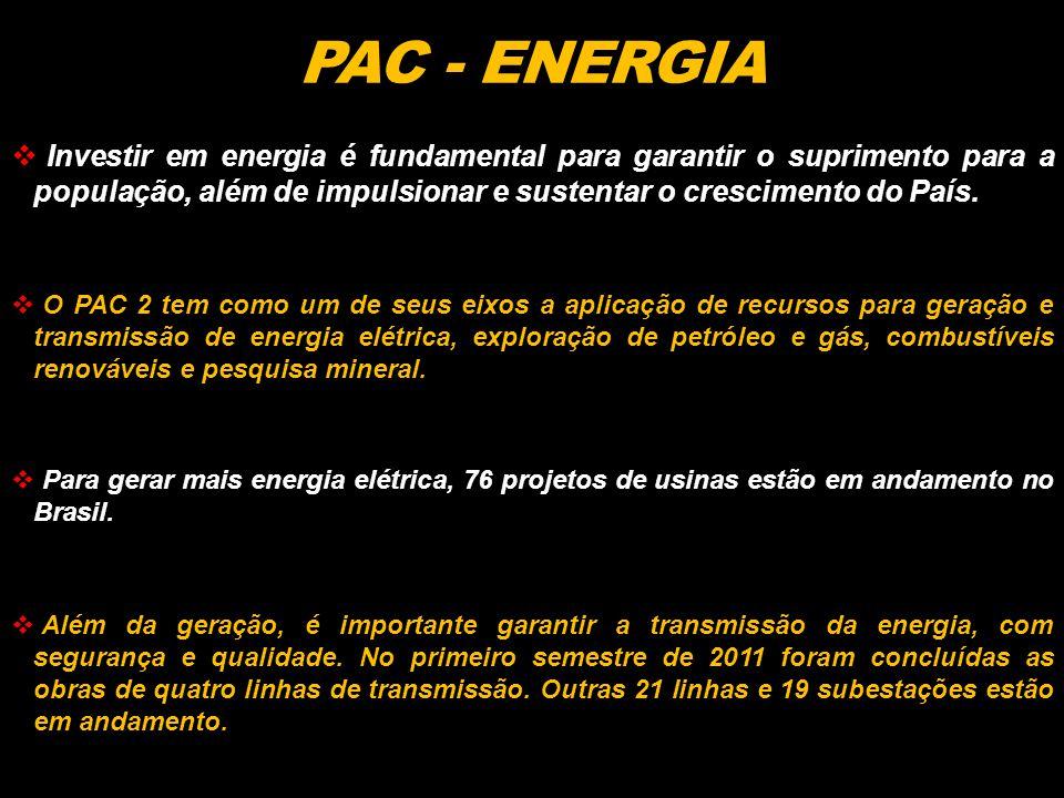 PAC - ENERGIA Investir em energia é fundamental para garantir o suprimento para a população, além de impulsionar e sustentar o crescimento do País.