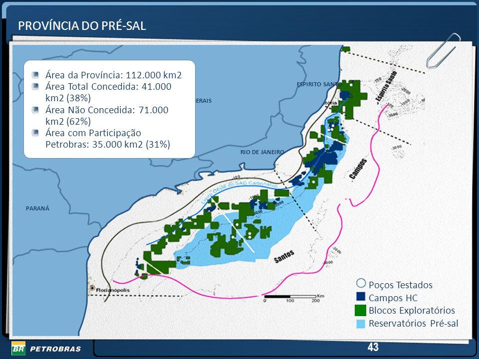 PROVÍNCIA DO PRÉ-SAL 43 Área da Província: 112.000 km2