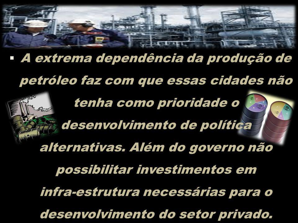 A extrema dependência da produção de petróleo faz com que essas cidades não tenha como prioridade o desenvolvimento de política alternativas.