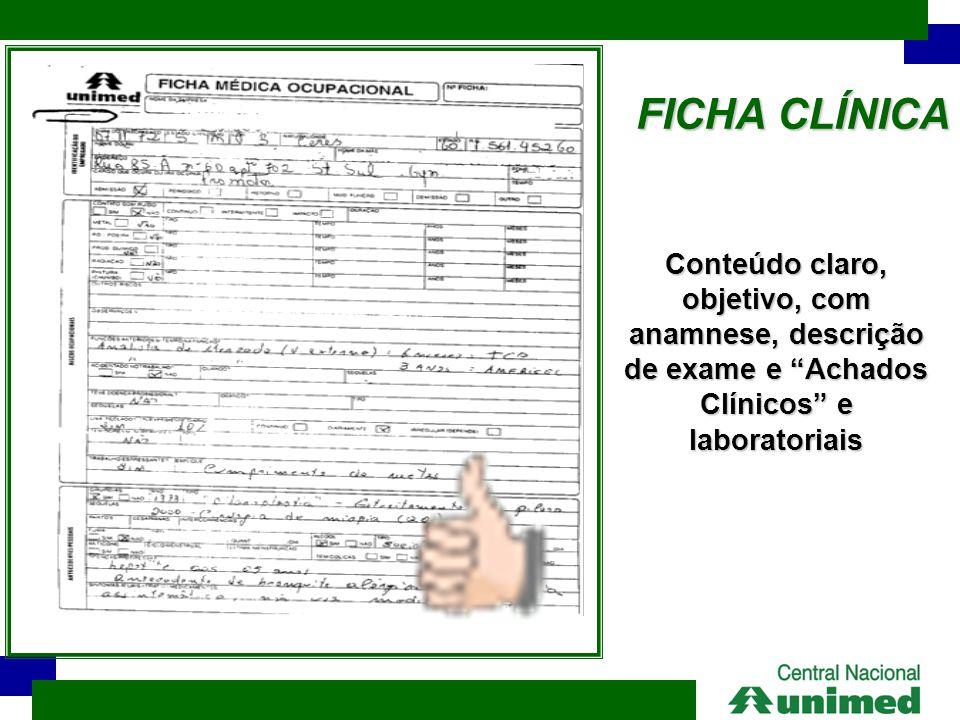 FICHA CLÍNICA Conteúdo claro, objetivo, com anamnese, descrição de exame e Achados Clínicos e laboratoriais.