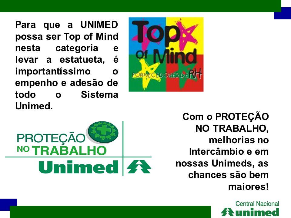 Para que a UNIMED possa ser Top of Mind nesta categoria e levar a estatueta, é importantíssimo o empenho e adesão de todo o Sistema Unimed.