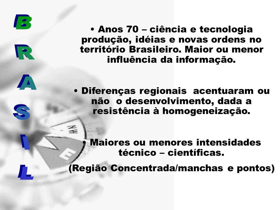 Anos 70 – ciência e tecnologia produção, idéias e novas ordens no território Brasileiro. Maior ou menor influência da informação.