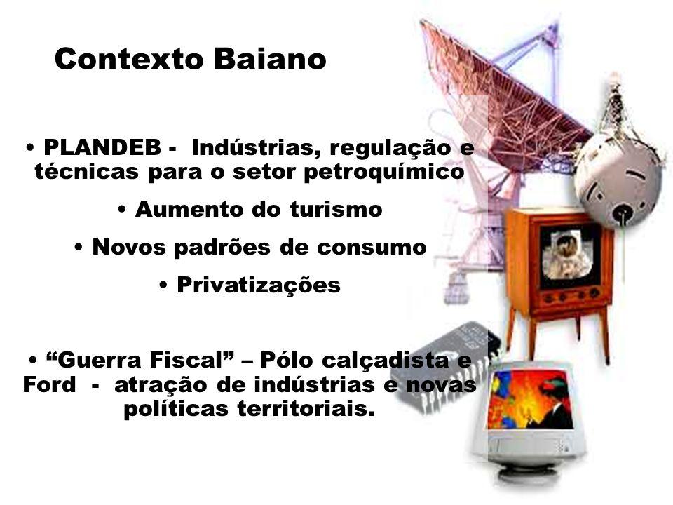 Contexto Baiano PLANDEB - Indústrias, regulação e técnicas para o setor petroquímico. Aumento do turismo.