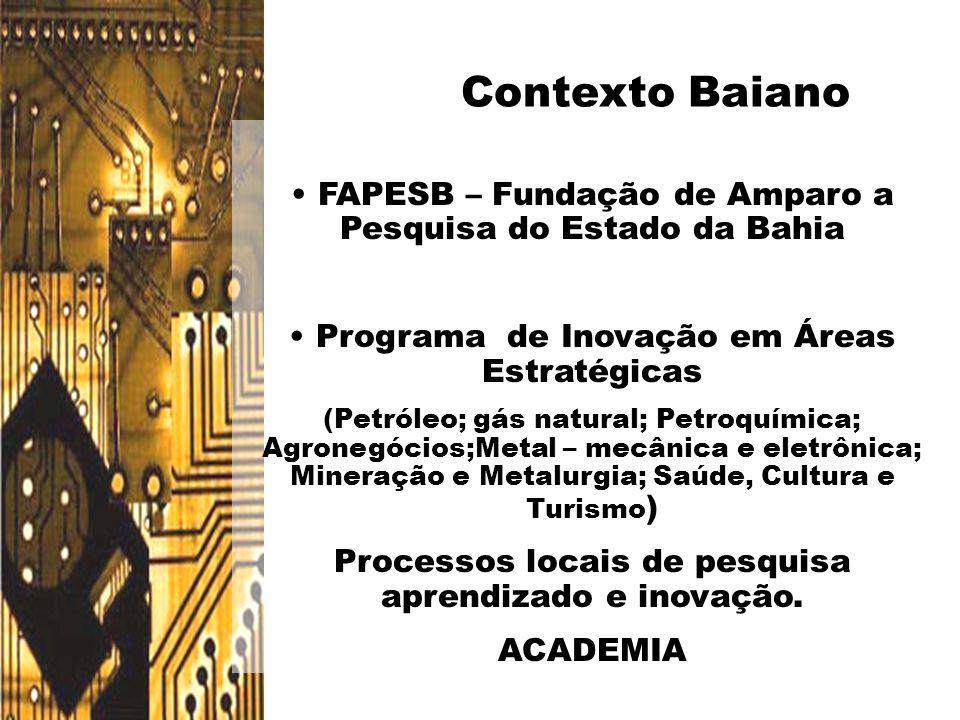 Contexto Baiano FAPESB – Fundação de Amparo a Pesquisa do Estado da Bahia. Programa de Inovação em Áreas Estratégicas.
