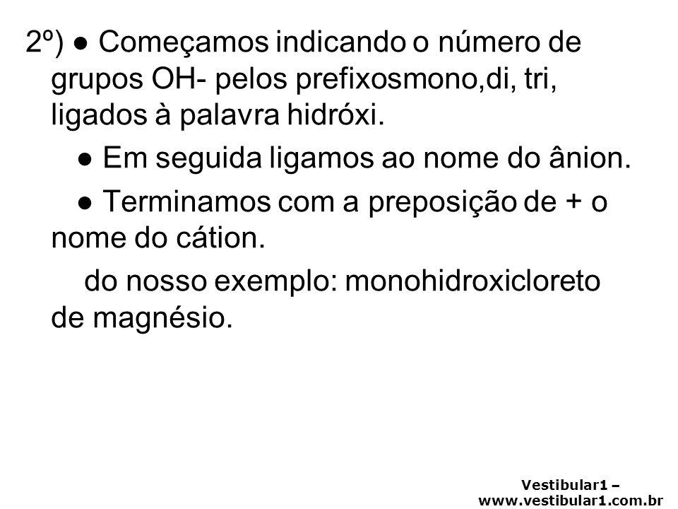 2º) ● Começamos indicando o número de grupos OH- pelos prefixosmono,di, tri, ligados à palavra hidróxi.