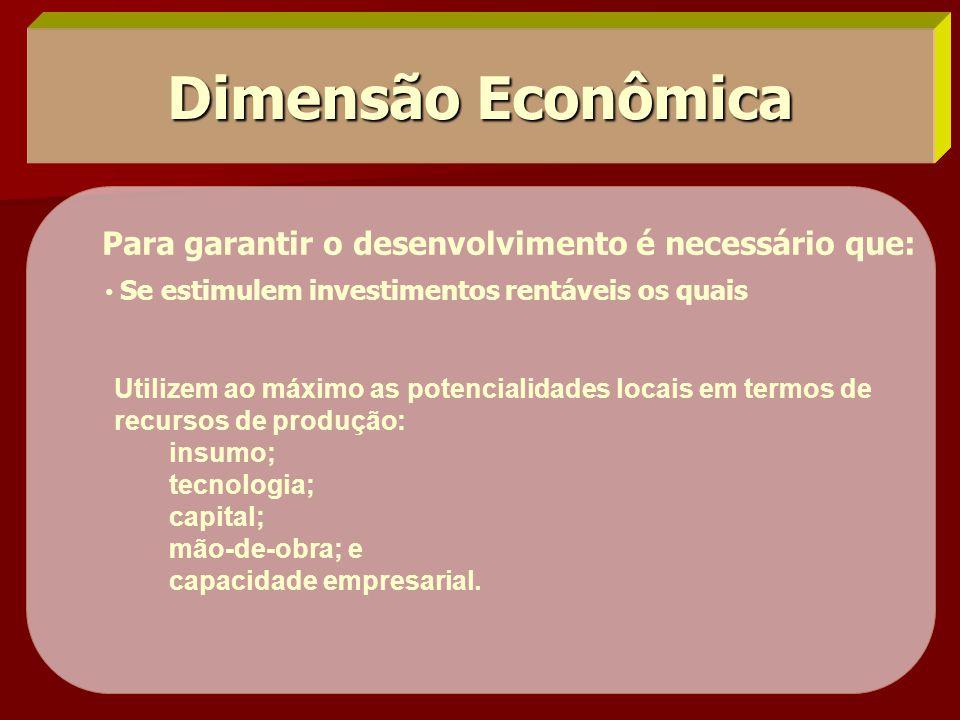 Dimensão Econômica Para garantir o desenvolvimento é necessário que: