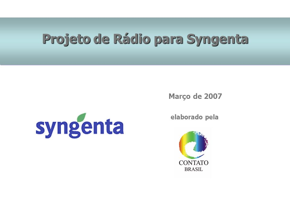 Projeto de Rádio para Syngenta