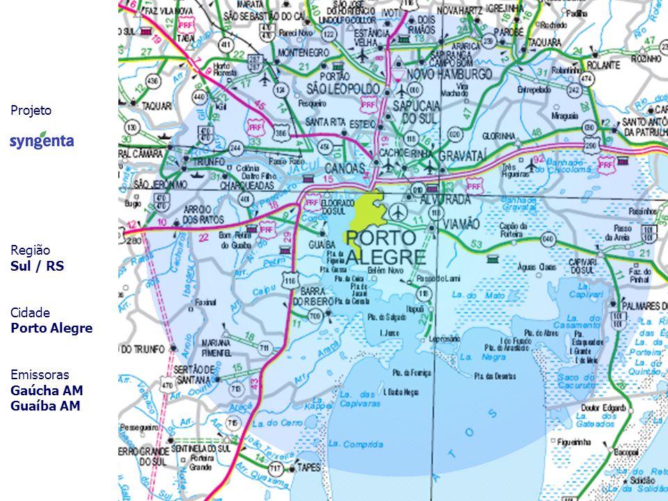 Projeto Região Sul / RS Cidade Porto Alegre Emissoras Gaúcha AM Guaíba AM