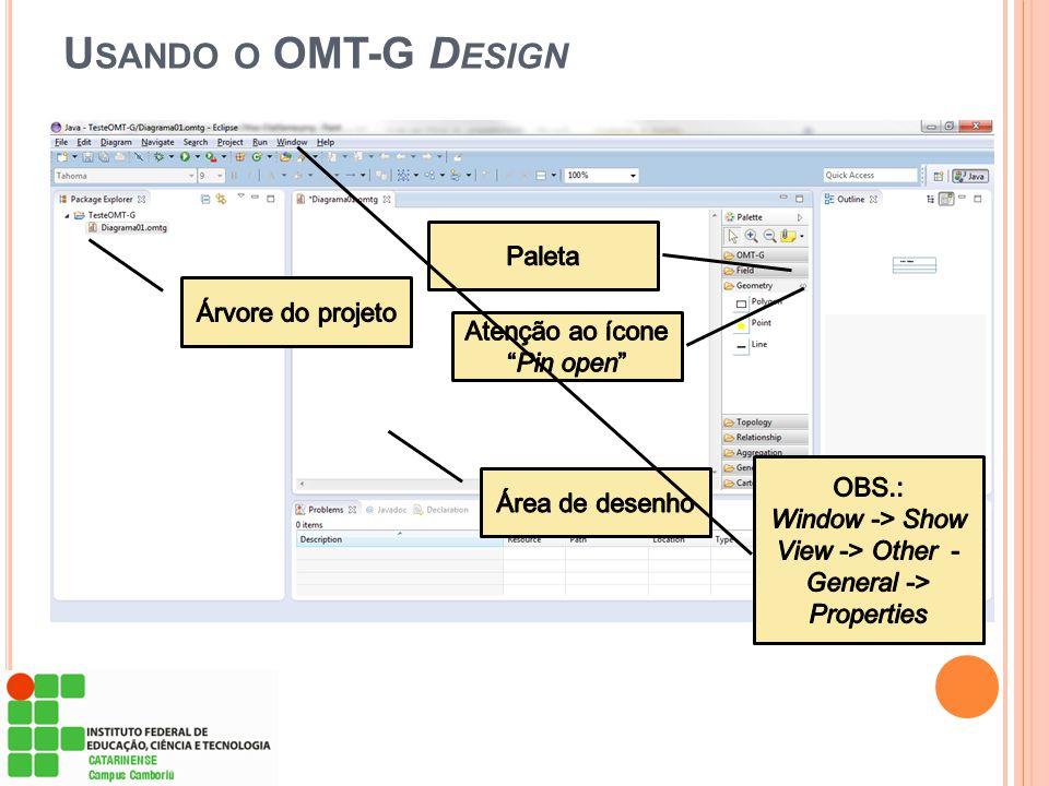 Usando o OMT-G Design Paleta Árvore do projeto