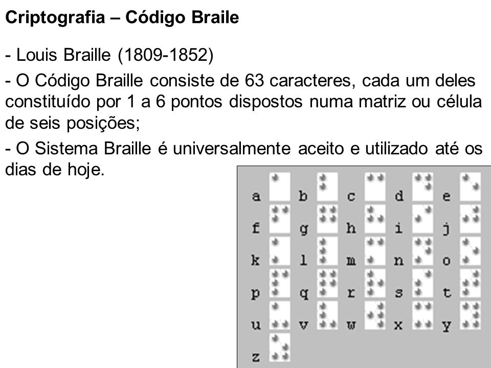 Criptografia – Código Braile