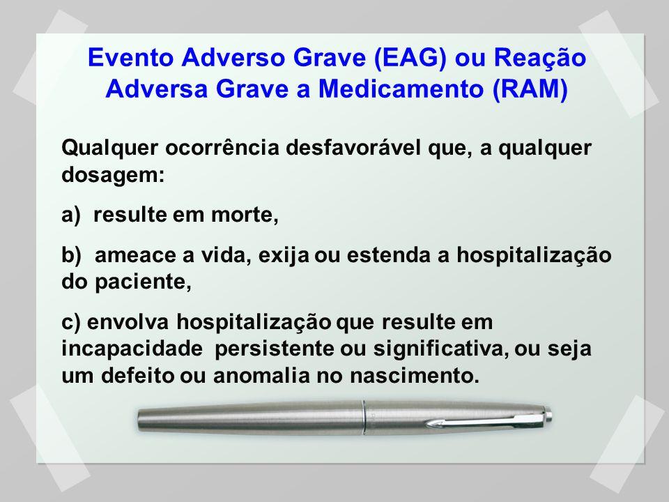 Evento Adverso Grave (EAG) ou Reação Adversa Grave a Medicamento (RAM)
