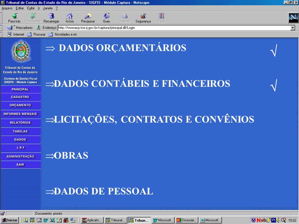   DADOS ORÇAMENTÁRIOS DADOS CONTÁBEIS E FINANCEIROS