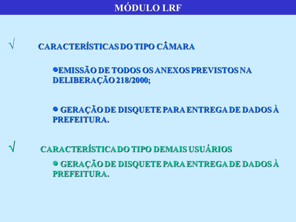 MÓDULO LRF CARACTERÍSTICAS DO TIPO CÂMARA