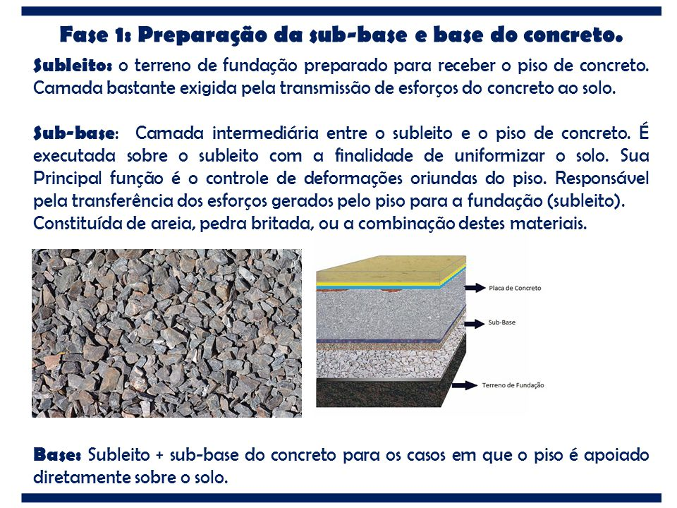 Fase 1: Preparação da sub-base e base do concreto.