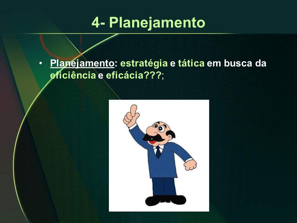 4- Planejamento Planejamento: estratégia e tática em busca da eficiência e eficácia ;