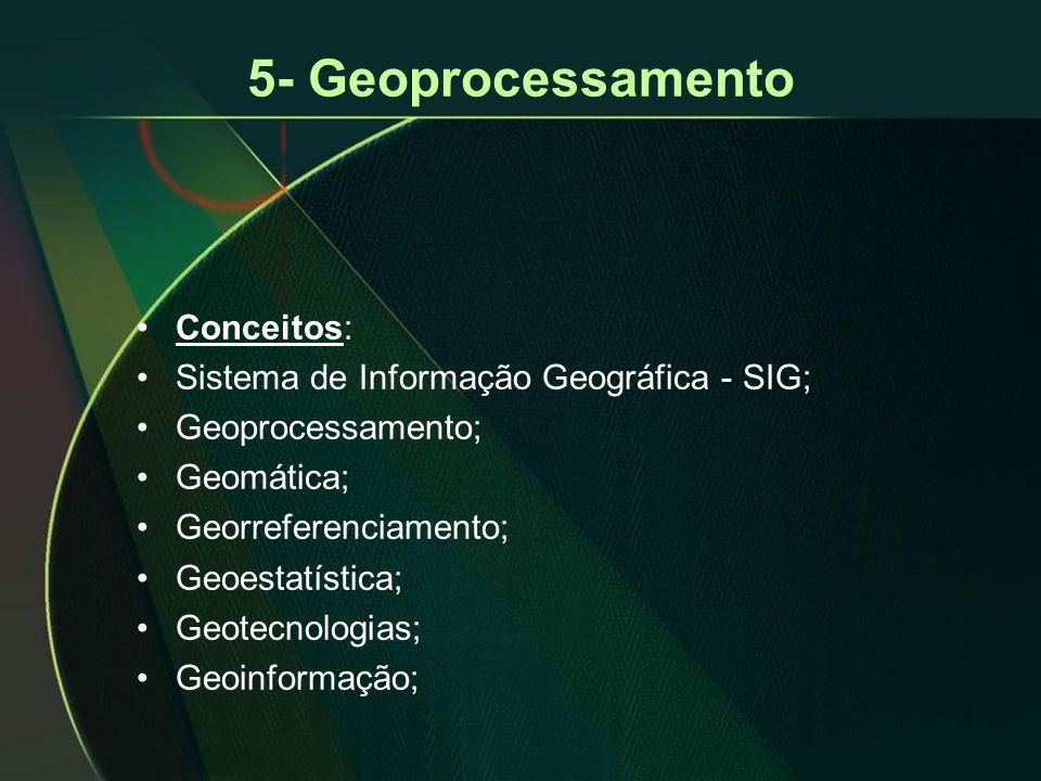 5- Geoprocessamento Conceitos: Sistema de Informação Geográfica - SIG;