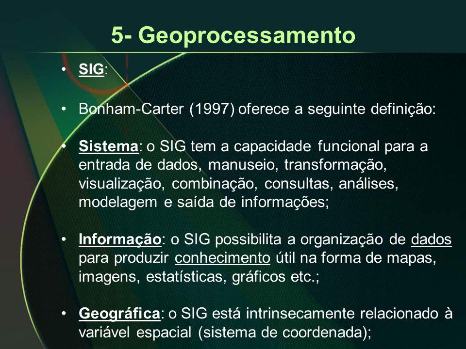 5- Geoprocessamento Bonham-Carter (1997) oferece a seguinte definição: