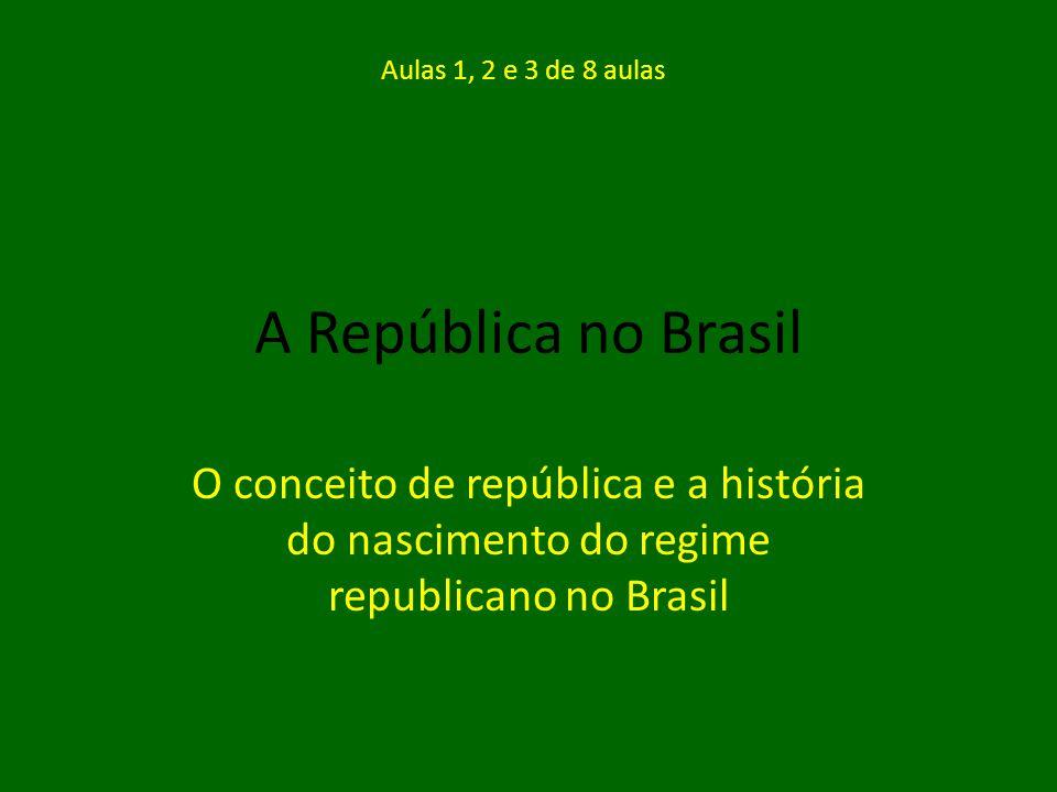 Aulas 1, 2 e 3 de 8 aulas A República no Brasil.
