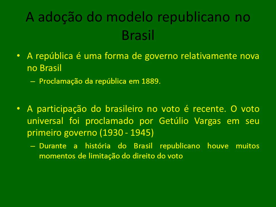 A adoção do modelo republicano no Brasil