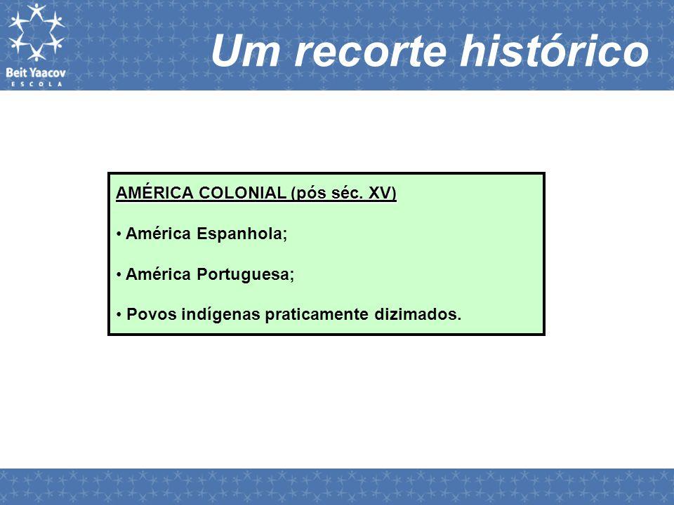 Um recorte histórico AMÉRICA COLONIAL (pós séc. XV) América Espanhola;