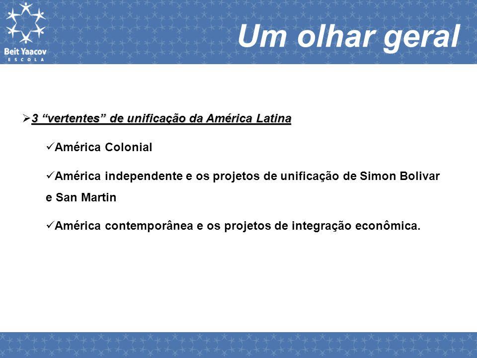 Um olhar geral 3 vertentes de unificação da América Latina