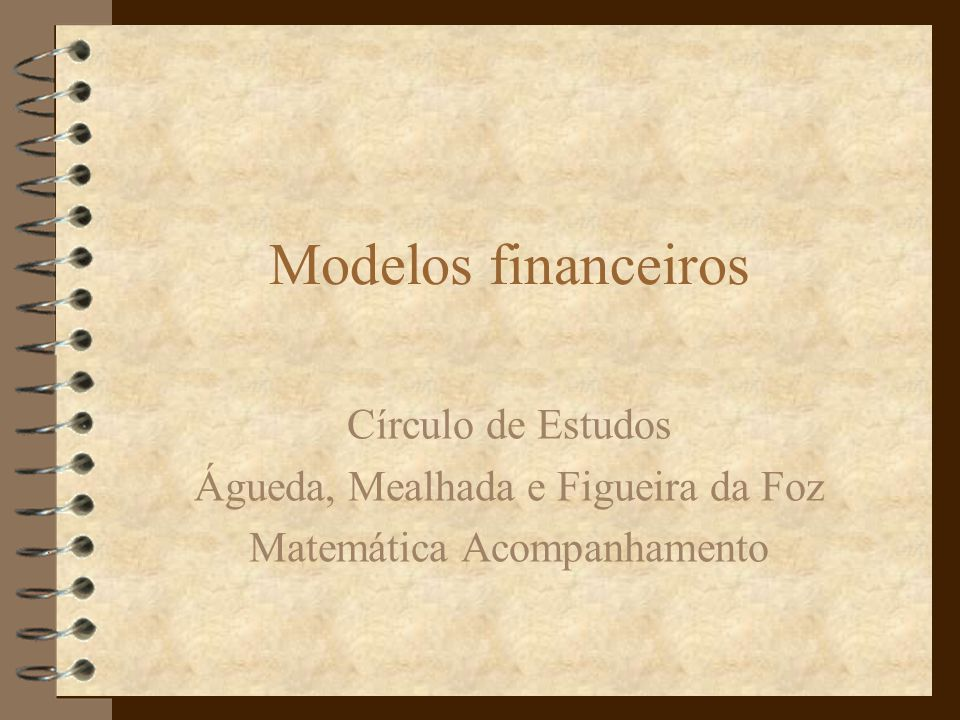 Modelos financeiros Círculo de Estudos