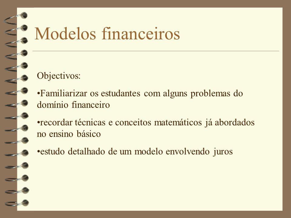 Modelos financeiros Objectivos: