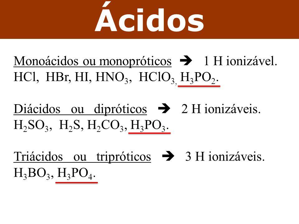 Ácidos Monoácidos ou monopróticos  1 H ionizável.