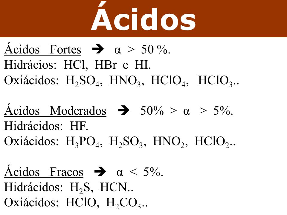 Ácidos Ácidos Fortes  α > 50 %. Hidrácios: HCl, HBr e HI.