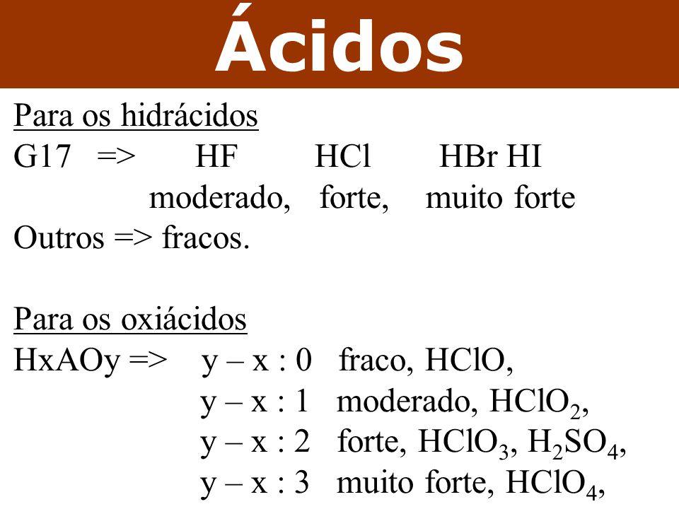Ácidos Para os hidrácidos G17 => HF HCl HBr HI