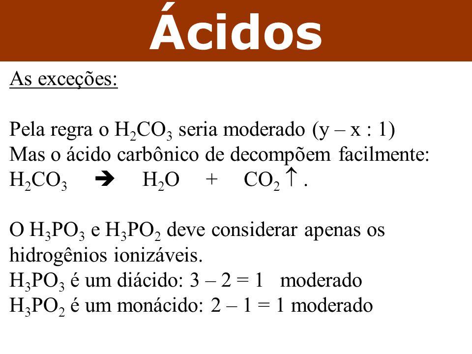 Ácidos As exceções: Pela regra o H2CO3 seria moderado (y – x : 1)