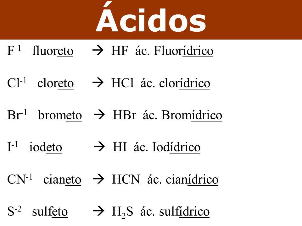 Ácidos F-1 fluoreto  HF ác. Fluorídrico