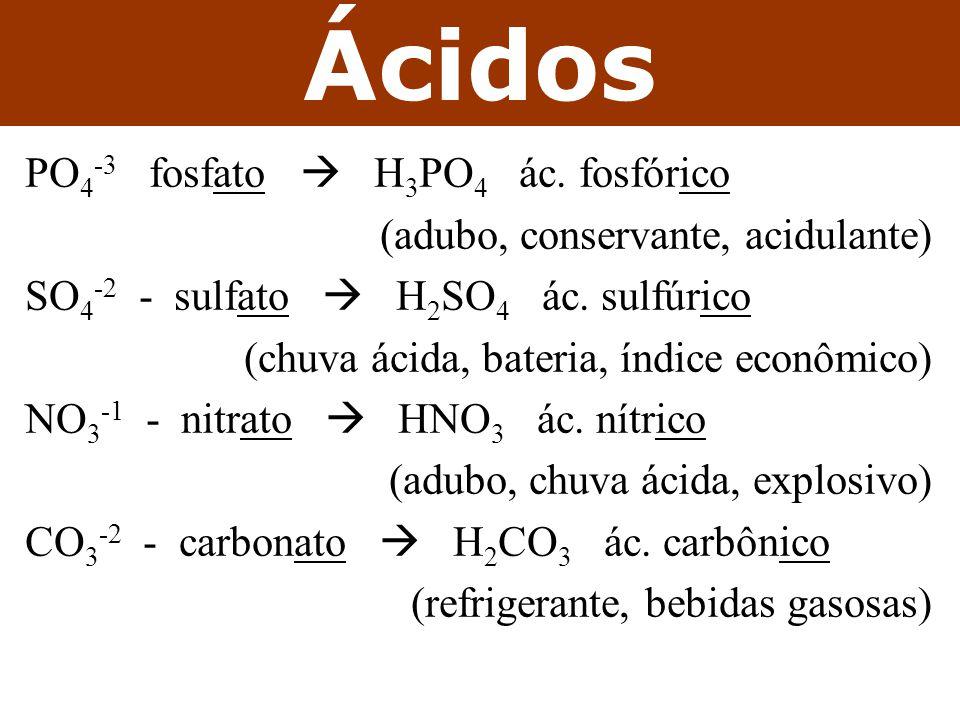 Ácidos PO4-3 fosfato  H3PO4 ác. fosfórico