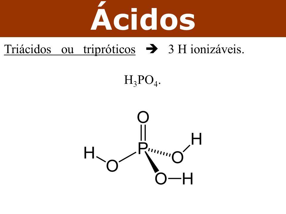 Ácidos Triácidos ou tripróticos  3 H ionizáveis. H3PO4.