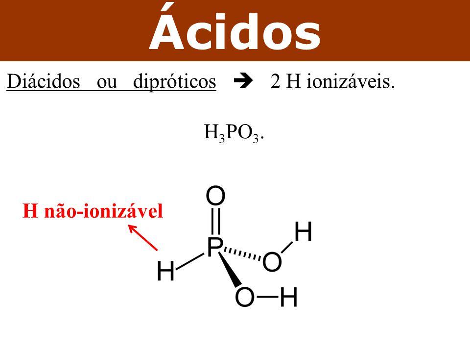 Ácidos Diácidos ou dipróticos  2 H ionizáveis. H3PO3. H não-ionizável