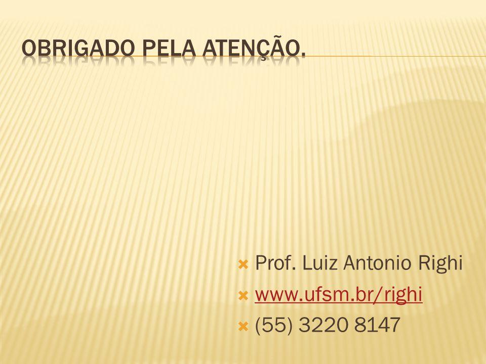 Obrigado pela atenção. Prof. Luiz Antonio Righi www.ufsm.br/righi