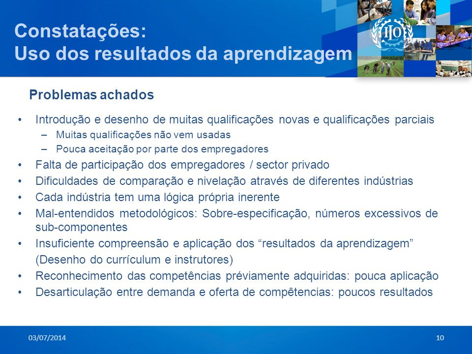 Constatações: Uso dos resultados da aprendizagem